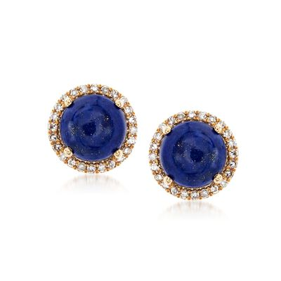 Lapis and .15 ct. t.w. Diamond Stud Earrings in 14kt Yellow Gold, , default
