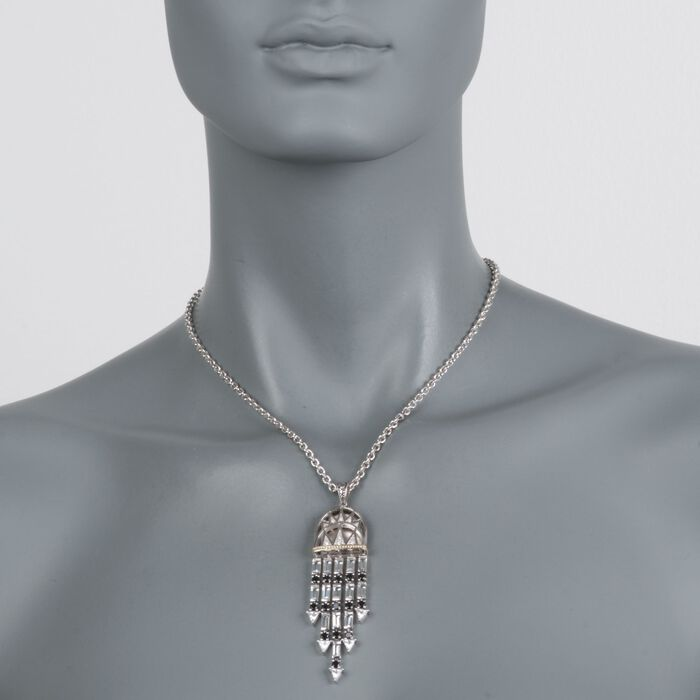 """Andrea Candela """"Art Deco"""" 6.75 ct. t.w. White Topaz and Black Spinel Necklace with Diamonds in Sterling Silver. 17"""", , default"""