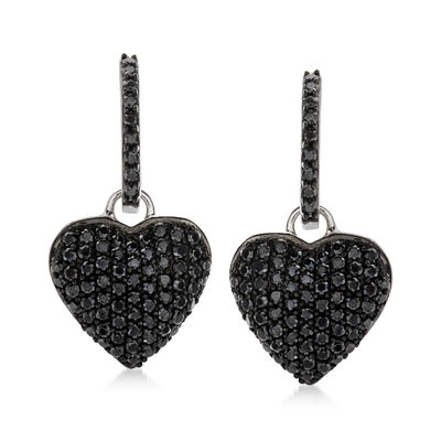 2.10 ct. t.w. Black Spinel Heart Drop Earrings in Sterling Silver