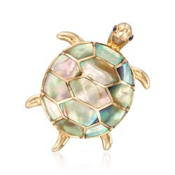 Abalone and Mother-Of-Pearl Turtle Pin With Sapphire Accents in 14kt Yellow Gold, , default