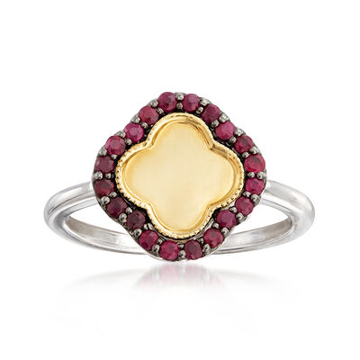 .20 ct. t.w. Ruby Clover Ring in Sterling Silver and 14kt Yellow Gold, , default