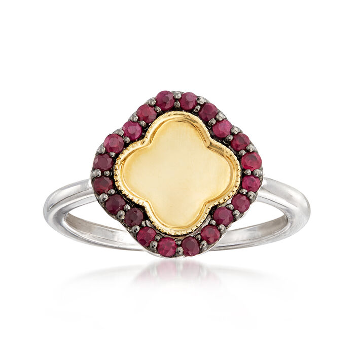 .20 ct. t.w. Ruby Clover Ring in Sterling Silver and 14kt Yellow Gold