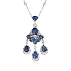 "C. 2000 Vintage 9.40 ct. t.w. Sapphire and 2.00 ct. t.w. Diamond Chandelier Necklace in 18kt White Gold. 16"", , default"