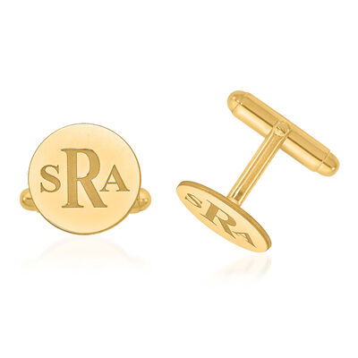 14kt Yellow Gold Laser Recessed Letters Circle Monogram Cuff Links, , default