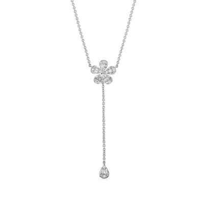 .40 ct. t.w. Diamond Flower Lariat Necklace in 14kt White Gold, , default