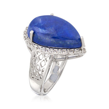 Pear-Shaped Lapis Cabochon Ring with .20 ct. t.w. White Topaz in Sterling Silver, , default
