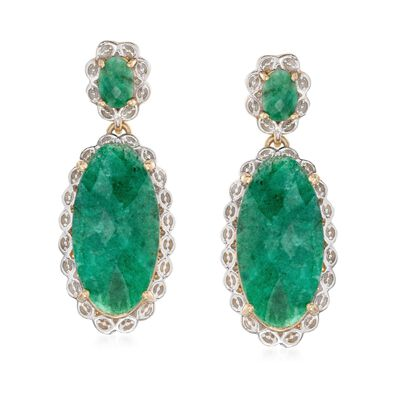 14.80 ct. t.w. Oval Emerald Drop Earrings in Two-Tone Sterling Silver, , default