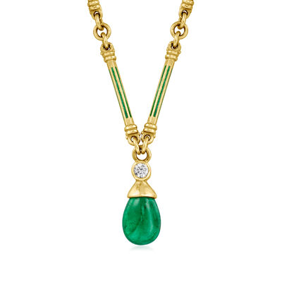 C. 1980 Vintage 2.50 Carat Emerald and .10 Carat Diamond Necklace with Green Enamel in 18kt Yellow Gold
