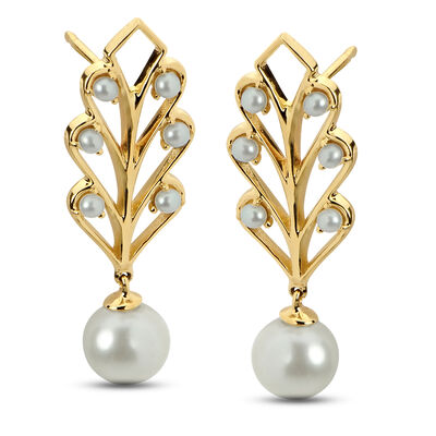 1.5-6.5mm Cultured Pearl Leaf Drop Earrings in 14kt Yellow Gold