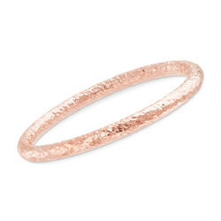 "Italian 18kt Rose Gold Over Sterling Silver Hammered Bangle Bracelet. 7.5"", , default"