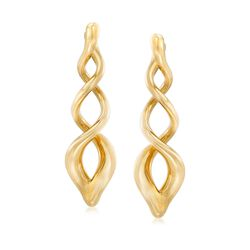 Italian Andiamo 14kt Yellow Gold Swirl Drop Earrings, , default