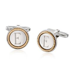 14kt Yellow Gold and Sterling Silver Round Personalized Cuff Links, , default