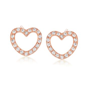 Italian 1.05 ct. t.w. CZ Jewelry Set: Three Pairs of Heart Earrings in Tri-Colored Sterling Silver, , default