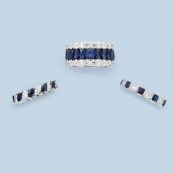 1.20 ct. t.w. Square Simulated Sapphire and .80 ct. t.w. CZ Eternity Band in Sterling Silver, , default
