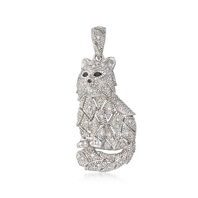 .15 ct. t.w. Black and White Diamond Cat Pendant in Sterling Silver, , default