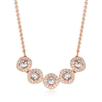 "Swarovski Crystal ""Angelic"" Square Crystal Necklace in Rose Gold Plate. 15""  , , default"