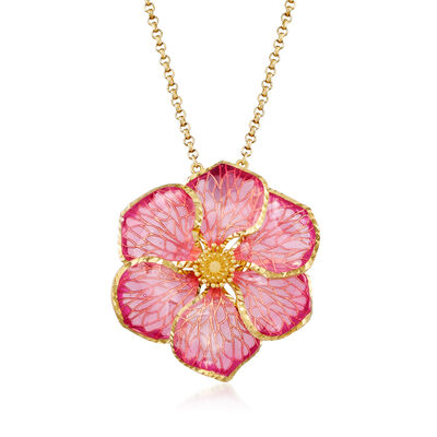 Italian 18kt Gold Over Sterling Pink Enamel Flower Pendant Necklace