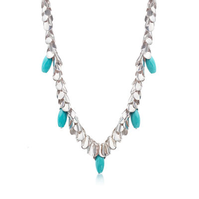 Turquoise-Blue Glass Leaf Necklace in Silvertone, , default