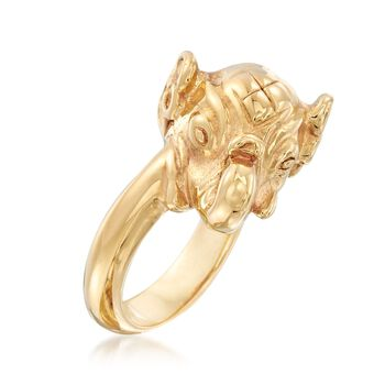 Italian 14kt Yellow Gold Elephant Ring, , default