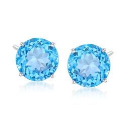 8.50 ct. t.w. Blue Topaz Stud Earrings in 14kt White Gold, , default