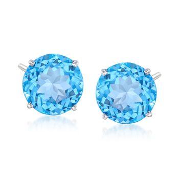 8.50 ct. t.w. Blue Topaz Stud Earrings in 14kt White Gold, , default