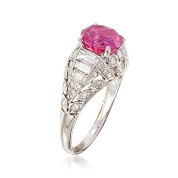 C. 2000 Vintage 2.40 Carat Pink Sapphire and 1.05 ct. t.w. Diamond Ring in 18kt White Gold. Size 6.5, , default