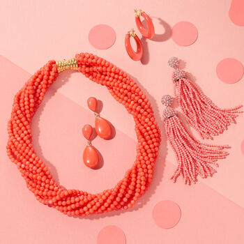 """Multi-Strand Coral Bead Necklace in 18kt Gold Over Sterling Silver. 17"""", , default"""