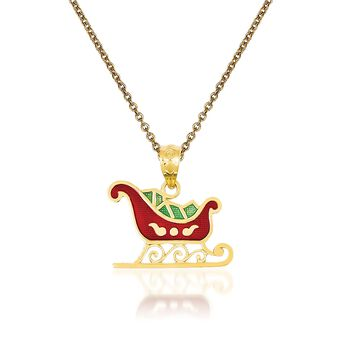 "14kt Yellow Gold Sleigh Pendant Necklace. 18"", , default"
