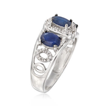 C. 1990 Vintage 1.65 ct. t.w. Sapphire and .10 ct. t.w. Diamond Ring in 14kt White Gold. Size 6