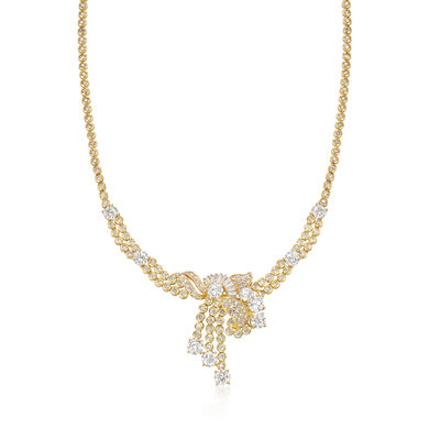C. 1990 Vintage 11.00 ct. t.w. Diamond Cluster Necklace in 18kt Yellow Gold, , default