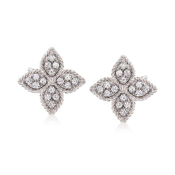 """Roberto Coin """"Princess"""" .34 ct. t.w. Diamond Flower Earrings in 18kt White Gold , , default"""