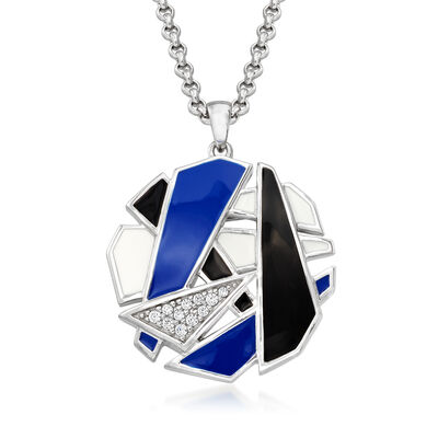 Belle Etoile Spectrum Enamel and .17 ct. t.w. CZ Pendant in Sterling Silver