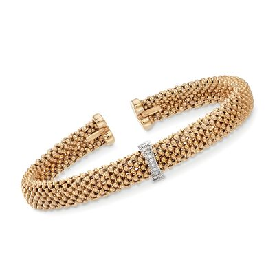 "Phillip Gavriel ""Popcorn"" 14kt Yellow Gold Cuff Bracelet with Diamond Accents, , default"
