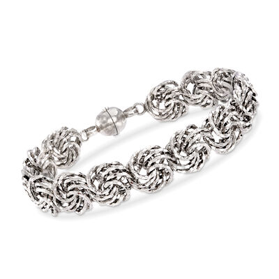Rosetta-Link Bracelet in Sterling Silver with Magnetic Clasp, , default