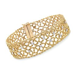 14kt Two-Tone Gold Woven Station Bracelet, , default