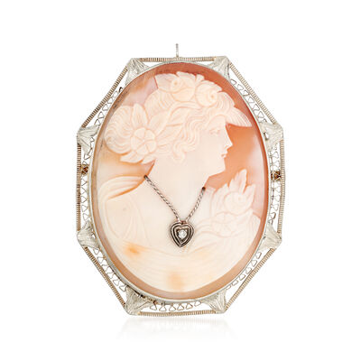 C. 1950 Vintage Shell Cameo Pin Pendant with Diamond Accent in 14kt White Gold