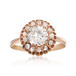 C. 1970 Vintage 1.52 ct. t.w. Diamond Ring in 14kt Rose Gold, , default