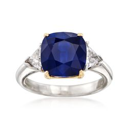 C. 1990 Vintage 4.85 Carat Sapphire and .50 ct. t.w. Diamond Ring in Platinum and 18kt Gold. Size 5.5, , default
