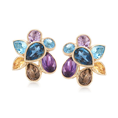 6.90 ct. t.w. Mixed Gem Cluster Earrings in 14kt Yellow Gold, , default