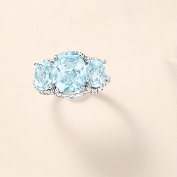 4.20 ct. t.w. Aquamarine and .25 ct. t.w. Diamond Ring in 14kt White Gold