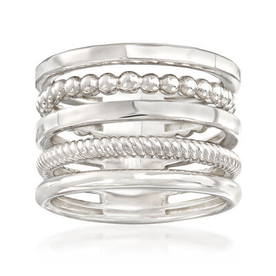 Italian Sterling Silver Multi-Band Stacked Ring