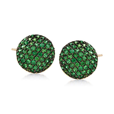 1.10 ct. t.w. Tsavorite Stud Earrings in 14kt Yellow Gold with Black Rhodium