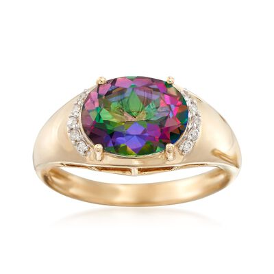 2.90 Carat Mystic Topaz Ring With Diamond Accents in 14kt Yellow Gold, , default