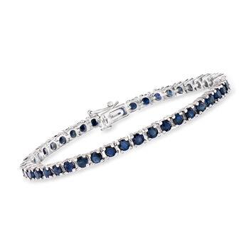 """7.90 ct. t.w. Sapphire Tennis Bracelet in Sterling Silver. 7.25"""", , default"""