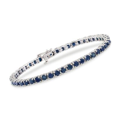 7.90 ct. t.w. Sapphire Tennis Bracelet in Sterling Silver, , default