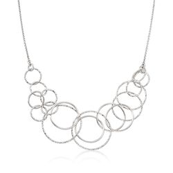 Italian Sterling Silver Diamond-Cut Multi-Circle Necklace, , default
