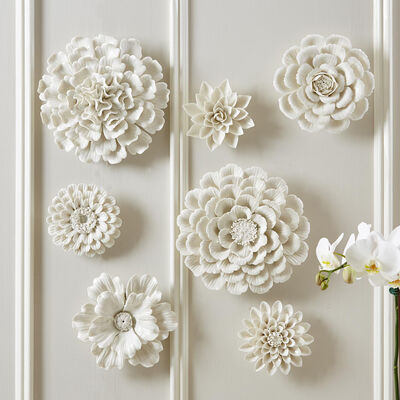 Set of Seven White Porcelain Decorative Floral Wall Sculptures, , default