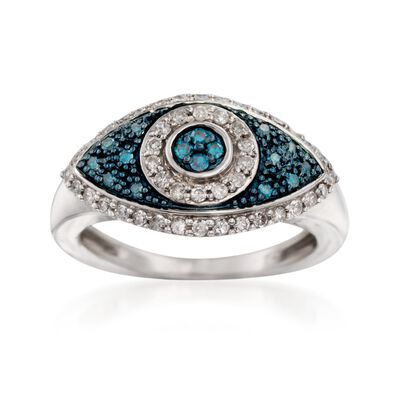.32 ct. t.w. White and Blue Diamond Evil Eye Ring in Sterling Silver, , default