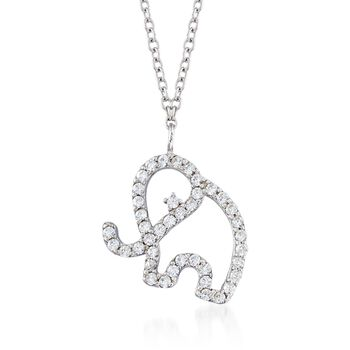".40 ct. t.w. CZ Open Elephant Pendant Necklace in Sterling Silver. 16"", , default"