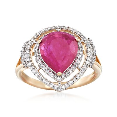 2.10 Carat Ruby and .45 ct. t.w. Diamond Ring in 14kt Yellow Gold, , default